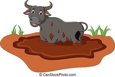 cute bull cartoon standing in the mud