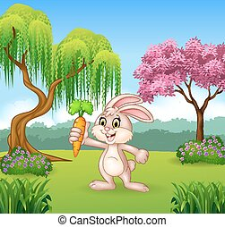 Cute bunny holding carrot