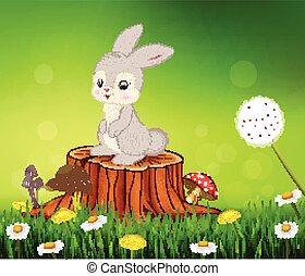 Cute bunny sitting on tree stump