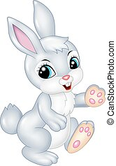 Cute bunny walking isolated