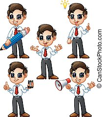 Cute businessman cartoon set