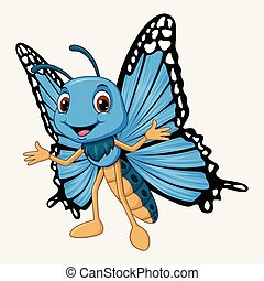 Cute butterfly cartoon on white background