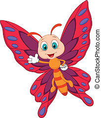 Cute butterfly cartoon waving - Vector illustration of Cute...