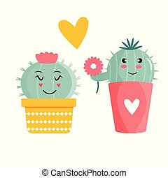 Vector illustration of cute cacti in a pot