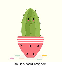 Vector illustration of cute cactus in a pot