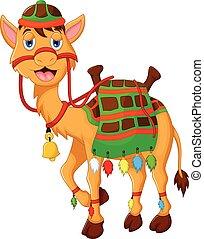 vector illustration of cute camel cartoon walking