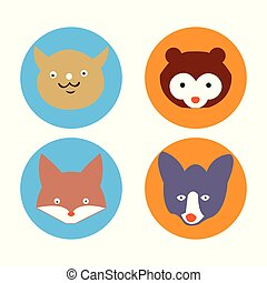 Vector illustration of cute cartoon animal faces