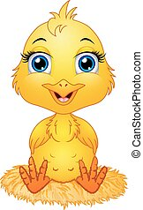 Cute cartoon baby chicken sitting a nest