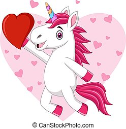 Cute cartoon baby unicorn holding heart