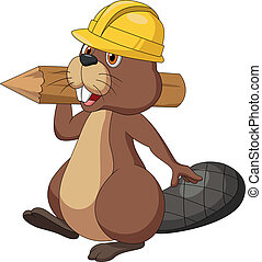 Vector illustration of Cute cartoon beaver wearing safety hat and holding a wood log