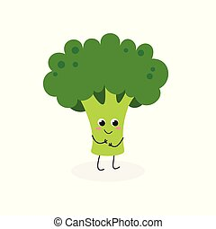 Vector illustration of cute cartoon broccoli isolated on white background
