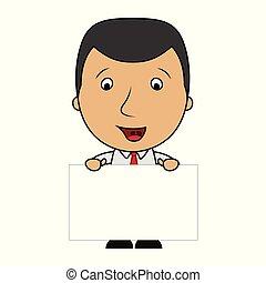 Cute cartoon businessman holding a blank sign