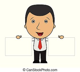 Cute cartoon businessman holding two blank sign