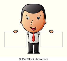 Cute cartoon businessman holding two blank sign