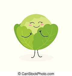 Vector illustration of cute cartoon cabbage isolated on white background