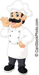 cute cartoon chef on white background
