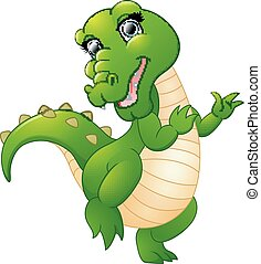 Cute cartoon crocodile isolated on white background