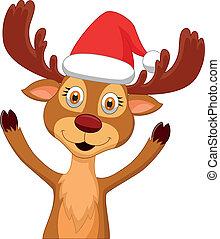 Cute cartoon deer waving - Vector illustration of Cute...
