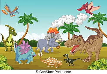 Cute cartoon dinosaur happy