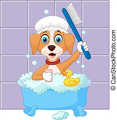 Cute cartoon dog having bath - Vector illustration of Cute...