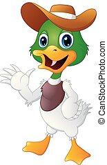 Cute cartoon duck waving hand with a hat