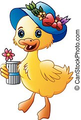 Cute cartoon duck with blue hat