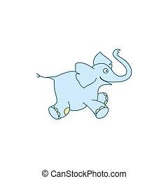 Vector illustration of cute cartoon elephant baby
