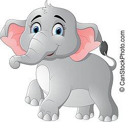 Cute cartoon elephant posing