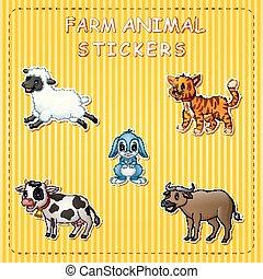 Cute cartoon farm animals on sticker