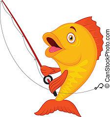 Vector illustration of Cute cartoon fish holding fishing rod