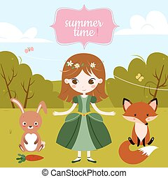 Vector illustration of cute cartoon girl and text Summer Time on the blue background.