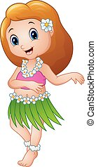 Cute cartoon girl dancing Hula Hawaiian