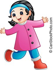 Cute cartoon girl in winter clothes waving