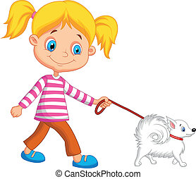 Cute cartoon girl walking with dog