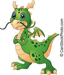 Cute cartoon green dragon posing