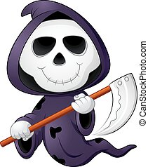 Cute cartoon grim reaper - vector illustration of Cute...