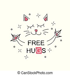 Vector illustration of cute cartoon hand drawn cat with open arms - free hugs