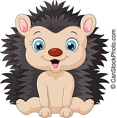 Vector illustration of Cute cartoon hedgehog child