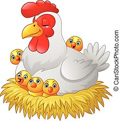 Cute cartoon hen with chickens sit