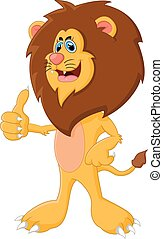 Cute cartoon lion giving thumb up