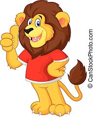 Cute cartoon lion giving thumb up - Vector illustration of...