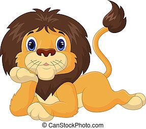 Cute cartoon lion relaxing