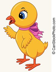 Cute cartoon little chicken with pink bow isolated on a white background