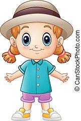 Cute cartoon little girl in a hat