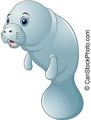 Cute cartoon manatee on white background