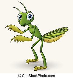 Cute cartoon mantis on white background