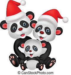 Cute cartoon panda bear family