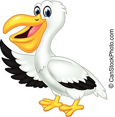 Cute cartoon pelican waving isolate