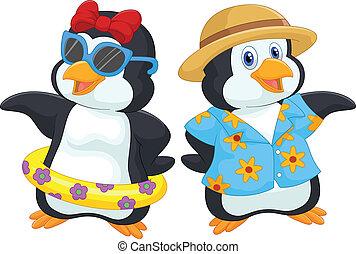 Cute cartoon penguin in summer holi - vector illustration of...