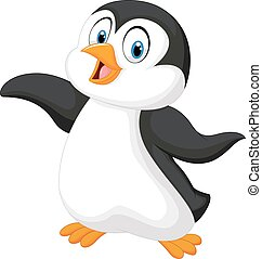 Cute cartoon penguin - Vector illustration of Cute cartoon...